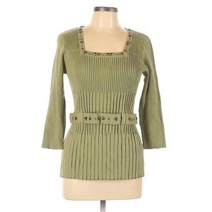 Requirements square neck ribbed blouse